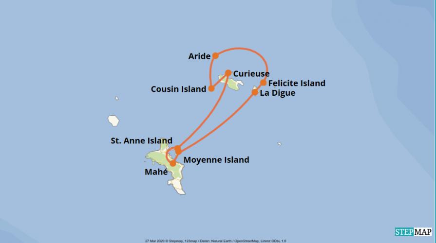 Karte der Reise: Kreuzfahrt